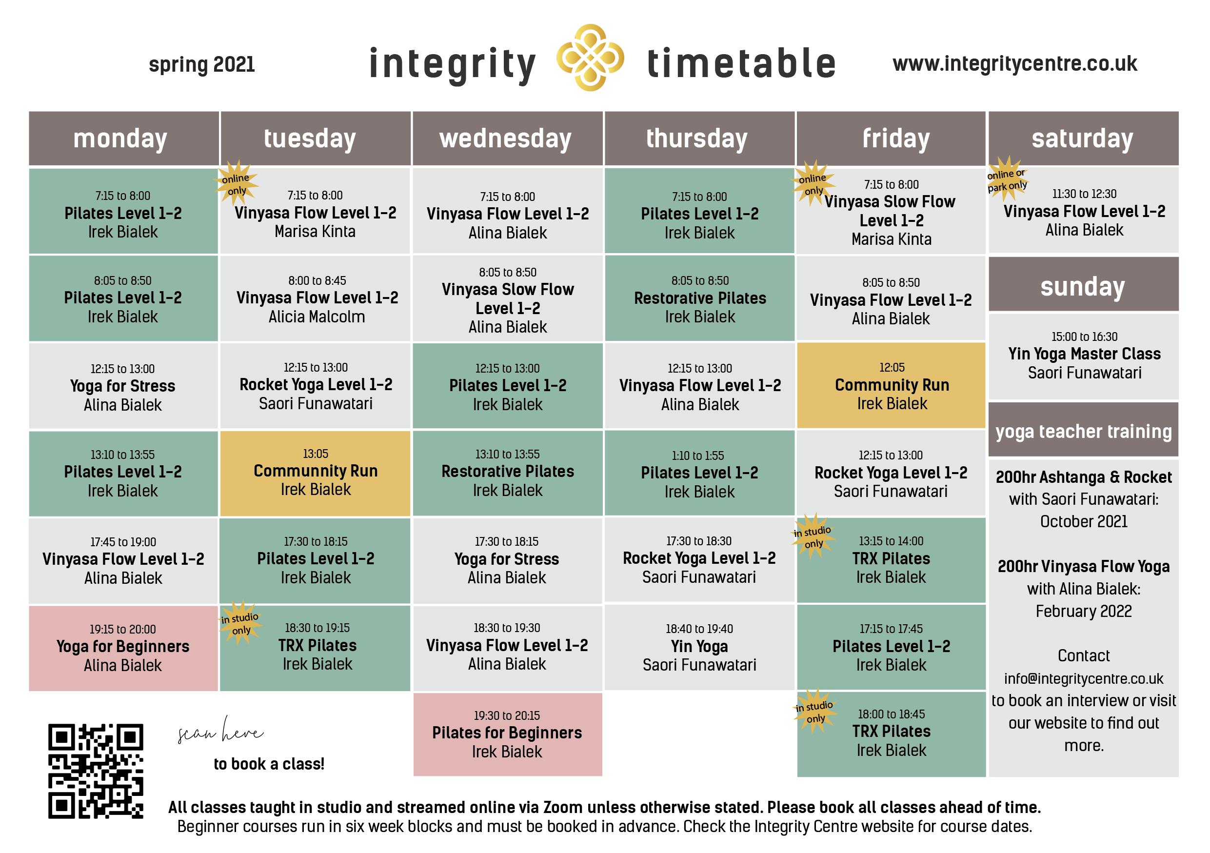 pilates and yoga class timetable